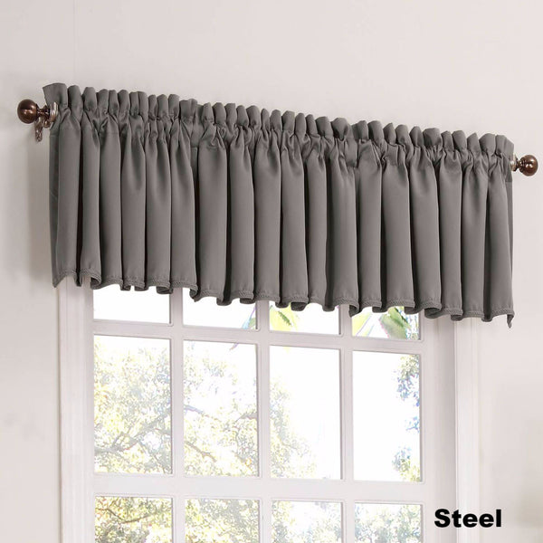 Steel Sun Zero Julian Room Darken Valance hanging from a decorative rod