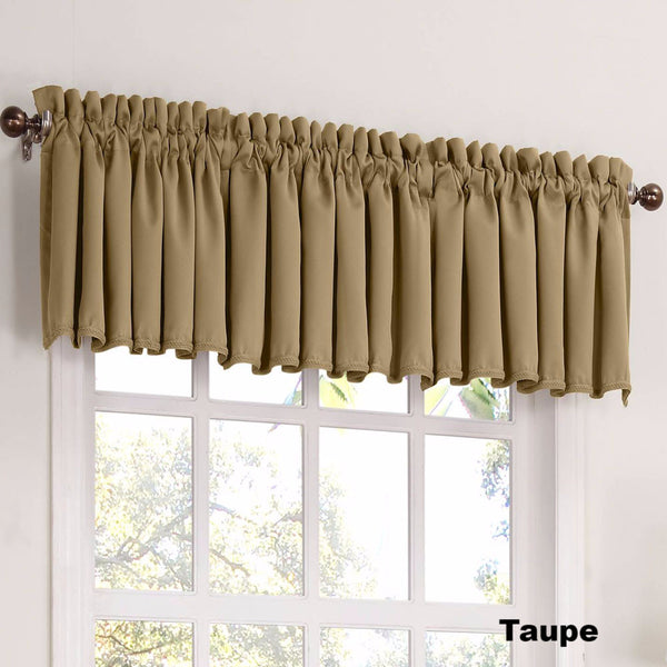 Taupe Sun Zero Julian Room Darken Valance hanging from a decorative curtain rod