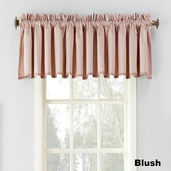 Blush Sun Zero Julian Room Darken Valance hanging from a decorative curtain rod