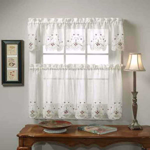 Fine Sunshine Semi Sheer Reverse Embroidery Tier And Valance Home Interior And Landscaping Palasignezvosmurscom