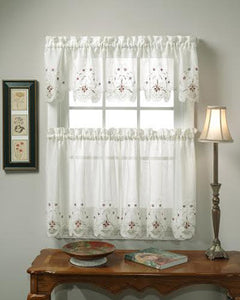 White And Blue Sunshine Semi Sheer Embroidery Kitchen Valance And Tier  Curtains Hanging On A Rod