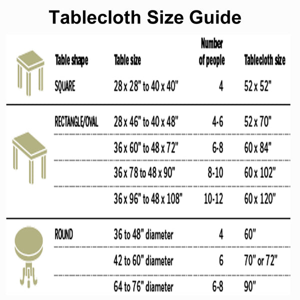 European Autumn Leaves Fabric Tablecloth size Chart