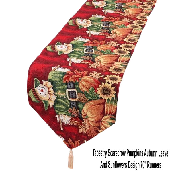 "Tapestry-Scarecrow-Pumpkins-Autumn-Leave-And-Sunflowers-Design-70"" -Runners"