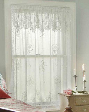 Tea Rose Lace Panel and Valance