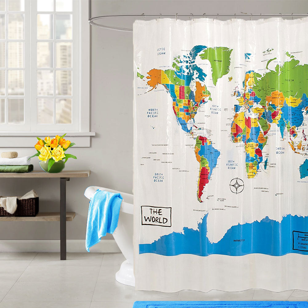 The World Peva Vinyl Shower Curtain hanging on a shower rod