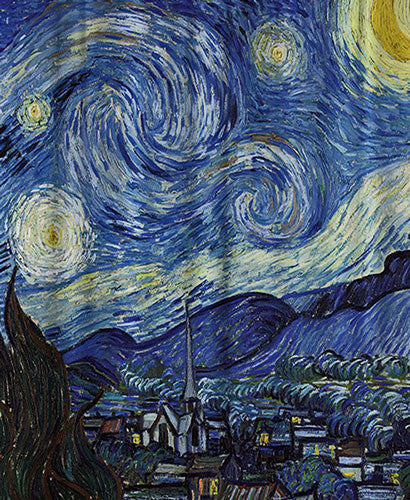 Close up shot of Multi The Starry Night Fabric Shower Curtain By Vincent van Gogh fabric