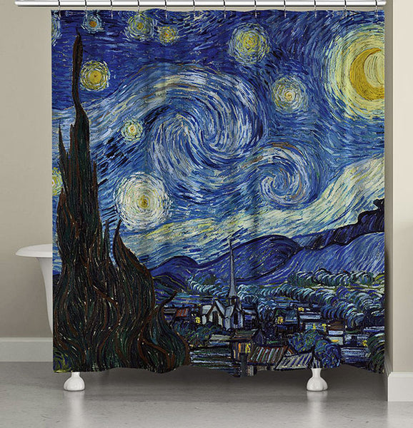 Multi The Starry Night Fabric Shower Curtain By Vincent van Gogh hanging on a fabric shower curtain
