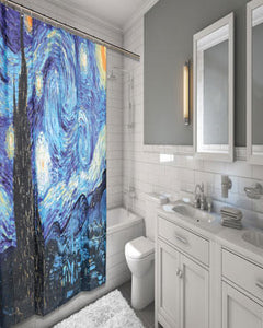 Multi Starry Night Fabric Shower Curtain By Vincent van Gogh hanging on a fabric shower curtain