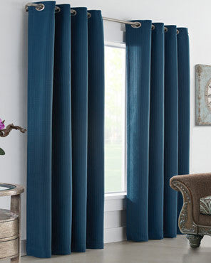 Dark Teal Thermalogic Darcy Insulated Woven Jacquard Grommet Top Panel hanging on a decorative rod