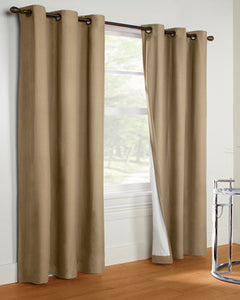 Taupe Thermalogic Prelude Insulated Grommet Top Panels hanging on a decorative rod
