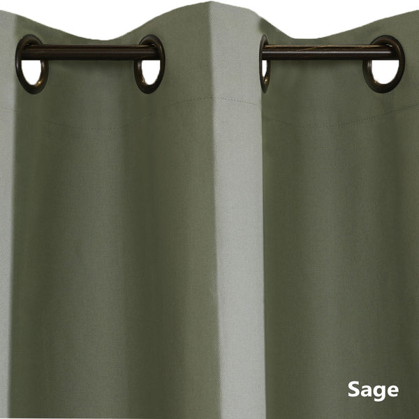 Closeup of sage Weathermate ThermaLogic Insulated Grommet Top Panel Pairs fabric and grommets