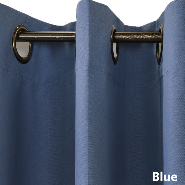 Closeup of blue Weathermate ThermaLogic Insulated Grommet Top Panel Pairs fabric and grommets