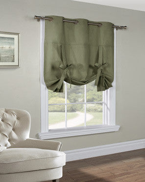 Sage Thermalogic Weathermate Tie-Up Shade hanging on a decorative rod