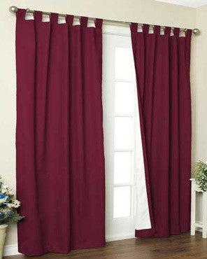 Burgundy Thermalogic Weathermate Tab Top Extra Wide Patio Panel Pair hanging on decorative rod