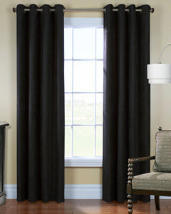 Black Thermalplus Navar Grommet Top Panels hanging on a decorative rod