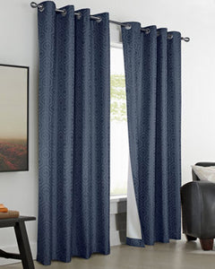 Navy Thermaplus Highgate Insulated Grommet Panels hanging on a decorative curtain rod