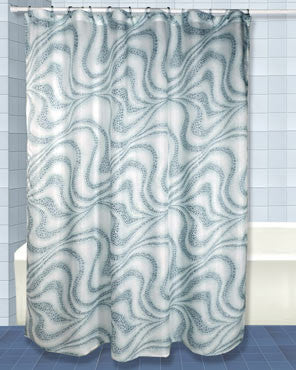 Blue Tidal Fabric Shower Curtain hanging on a shower curtain rod