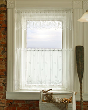 Tidepool Lace Kitchen Curtain Tier and Valance