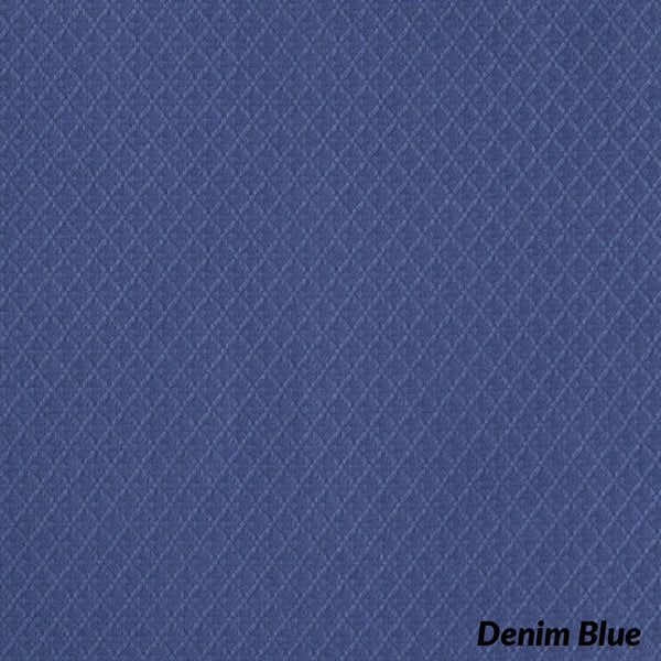 Closeup of Denim Blue Trio Grommet Top Tier and Valance fabric