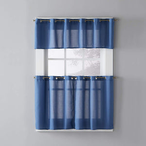 Denim Blue Trio Grommet Top Tier and Valance hanging on a decorative curtain rod