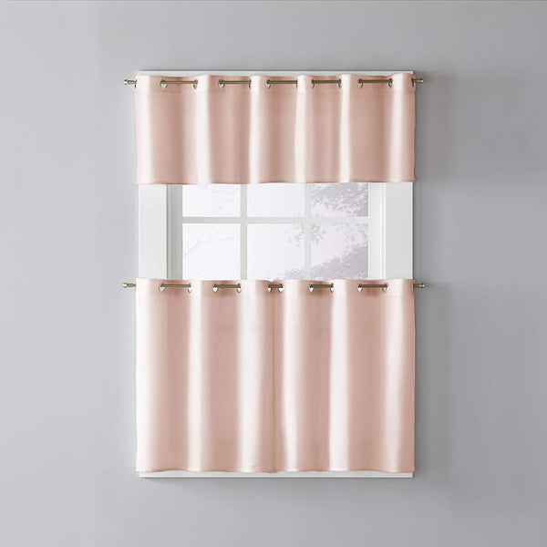 Blush Trio Grommet Top Tier and Valance hanging on a decorative curtain rod
