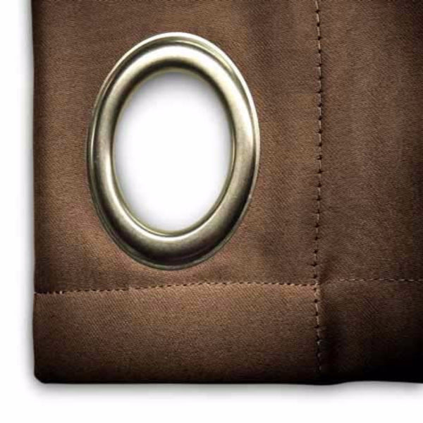 Closeup of espresso Ultimate Blackout Grommet Top Patio Panel fabric
