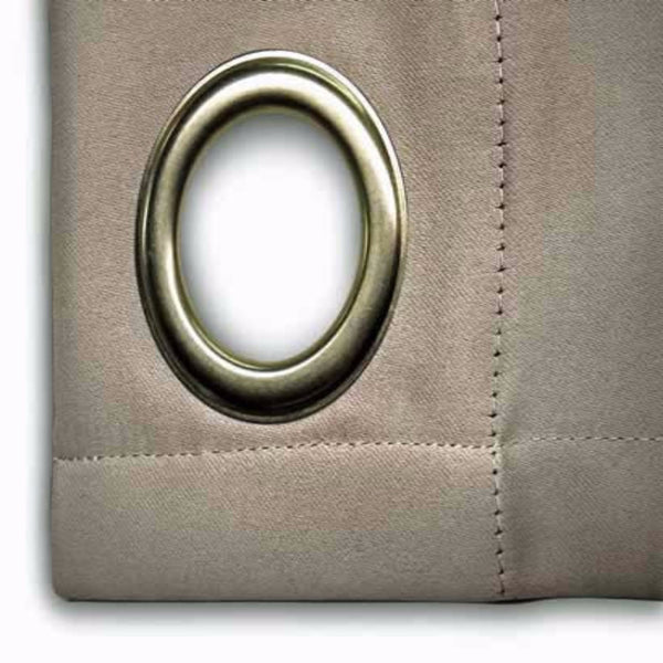 Closeup of greyUltimate Blackout Grommet Top Patio Panel fabric