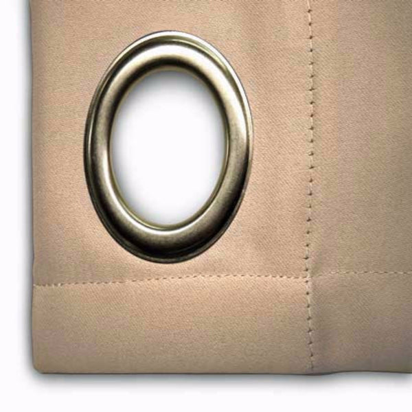 Closeup of putty Ultimate Blackout Grommet Top Patio Panel fabric