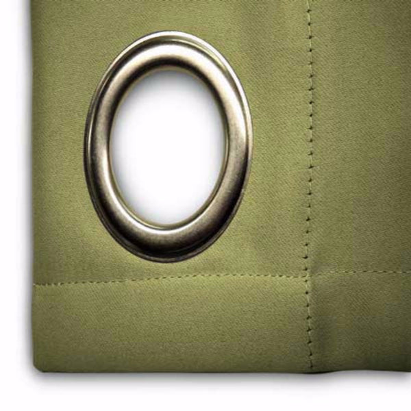 Closeup of sage Ultimate Blackout Grommet Top Patio Panel fabric