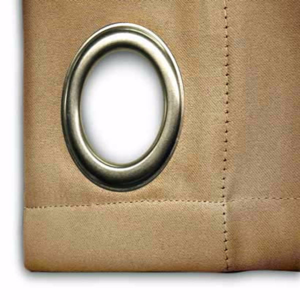 Closeup of sand Ultimate Blackout Grommet Top Patio Panel fabric