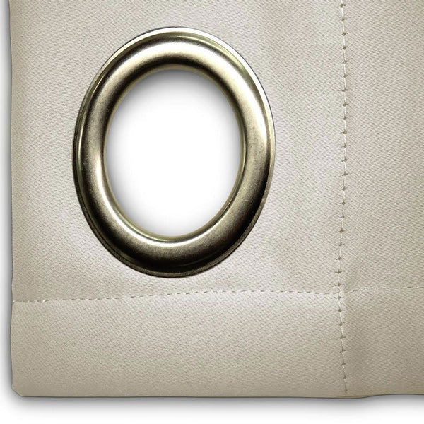 Closeup of ivory Ultimate Blackout Grommet Top Patio Panel fabric