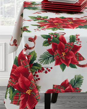 Botanical Plaid Fabric Printed Tablecloth