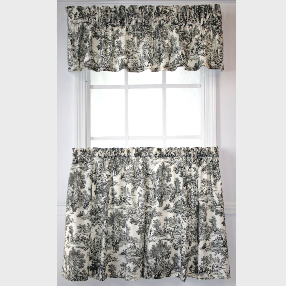 Victoria Park Toile Kitchen Valance And Tier Curtains
