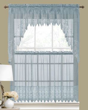 Blue Valerie Macrame Sheer Kitchen ValanceSwags And Tier Curtains Hanging On Curtain Rods