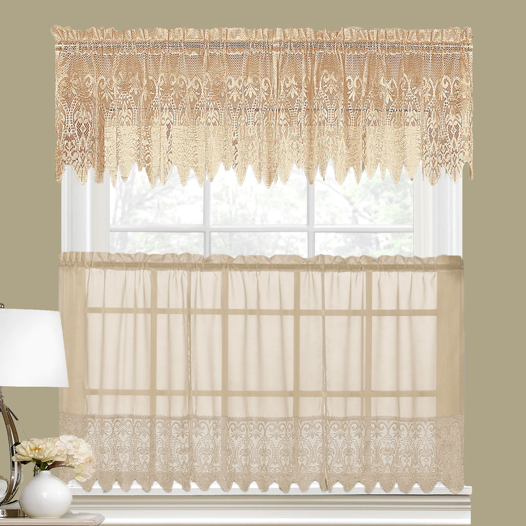 Valerie Macrame Sheer Kitchen Valance Swags And Tier Curtains