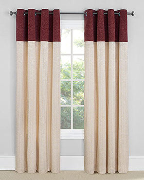 Wine Vancouver Room Darkening Grommet Top Panels hanging on a decorative curtain rod
