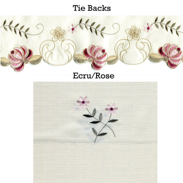 Verona Embroidered Panel Pairs with Tie Backs