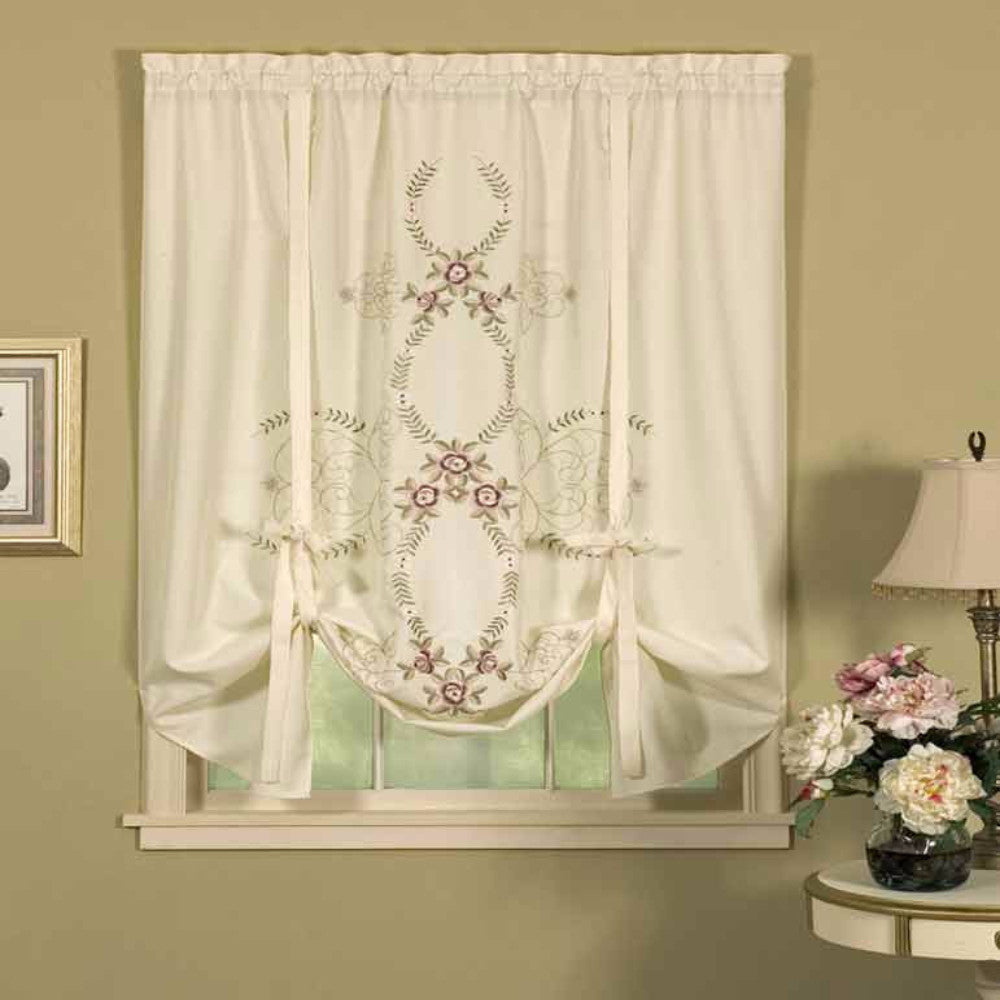 Verona Reverse Embroidery Tie Up Window Shade H C