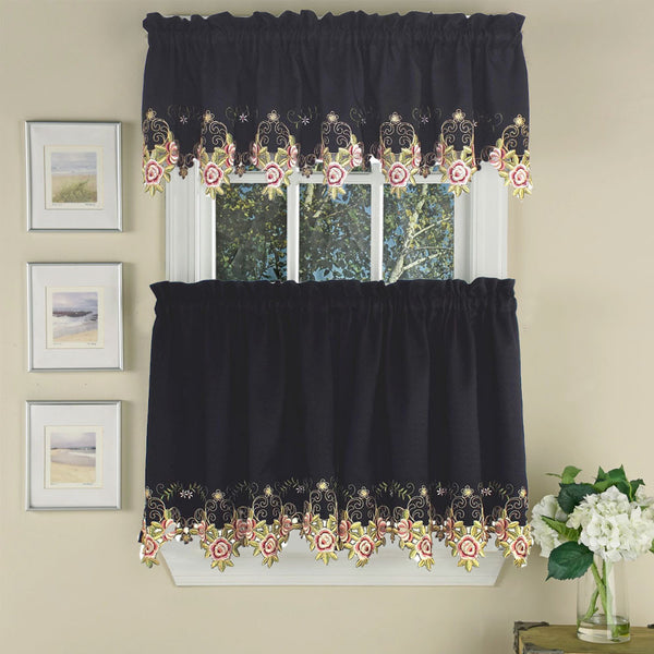 black and rose Verona Embroidered Cutwork Kitchen Valance and Tier Curtains hanging on a curtain rod