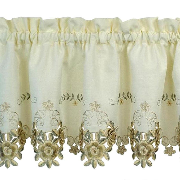 Closeup of Ecru and antique Verona Embroidered Cutwork Kitchen Valance Scallop and Fringe