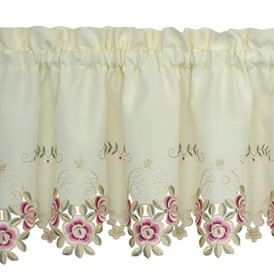 Closeup of Ecru and rose Verona Embroidered Cutwork Kitchen Valance Scallop and Fringe