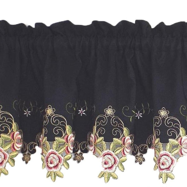Closeup of Black Rose Verona Embroidered Cutwork Kitchen Valance Scallop and Fringe
