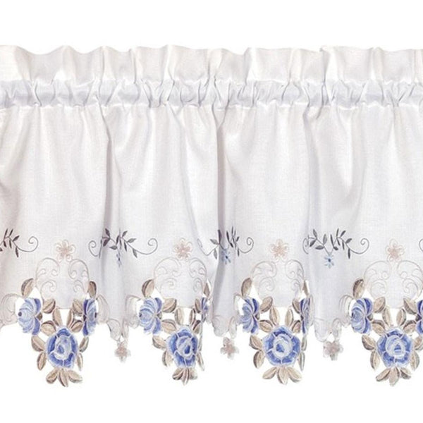 Closeup of White and blue Verona Embroidered Cutwork Kitchen Valance Scallop and Fringe