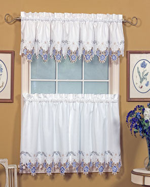 Verona Embroidered Cutwork Tier, Valance & Swag
