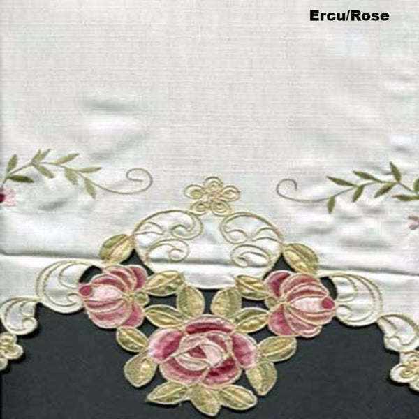 Close up shot of Ecru/Rose Verona Fabric Shower Curtain fabric