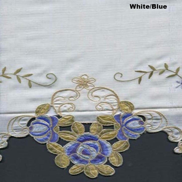 Close up shot of White/Blue Verona Fabric Shower Curtain fabric