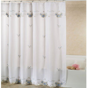 Ecru/Rose Verona Fabric Shower Curtain hanging on a shower curtain rod