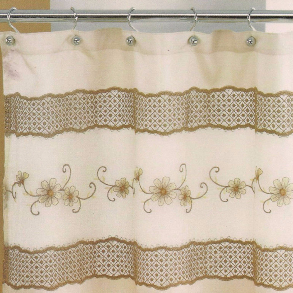 Beige Veronica Fabric Shower Curtain hanging on a shower curtain rod