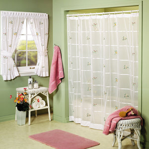 Vicki Embroidered Sheer Shower Curtain