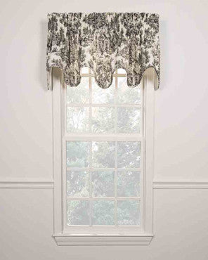 Victoria Park Scalloped Valance hanging on a curtain rod